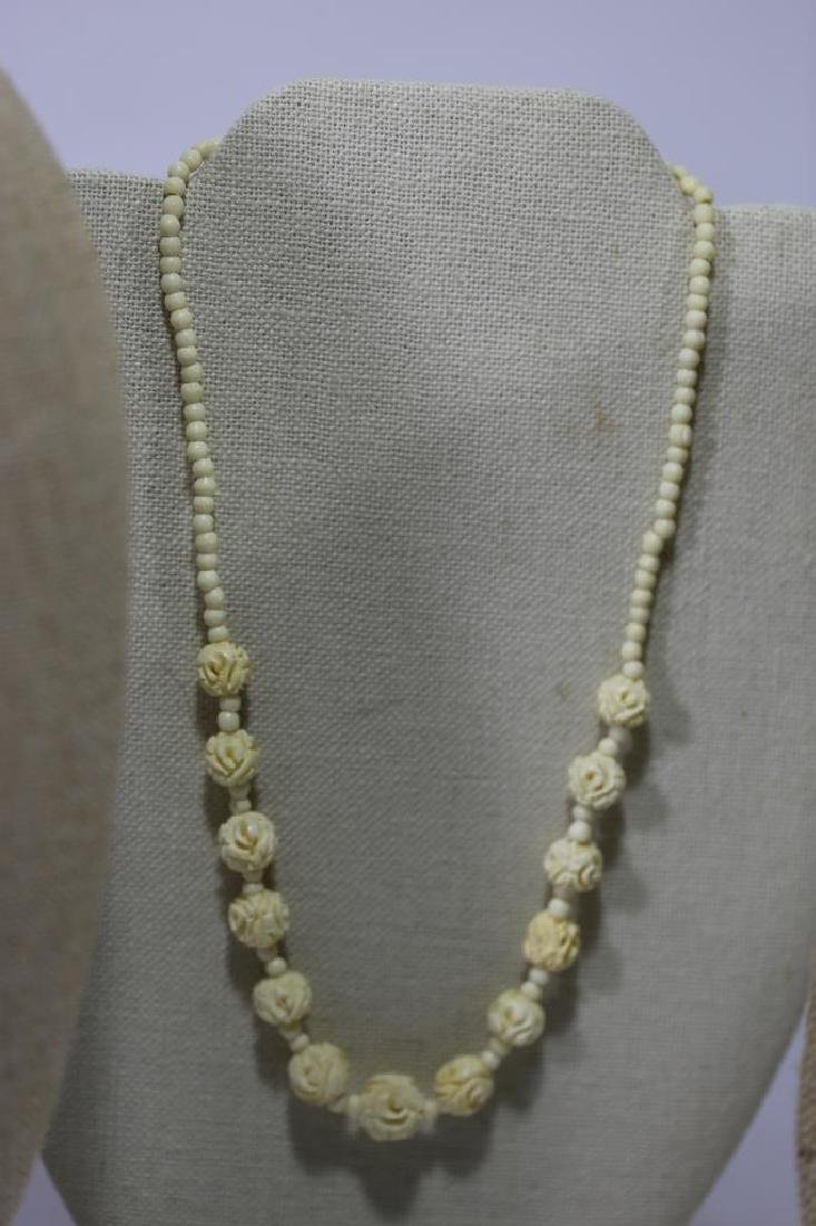 CHINESE ANTIQUE HAND CARVED NECKLACE GROUPING - 3