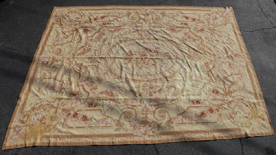 FRENCH VINTAGE AUBUSSON NEEDLEPOINT ROOM SIZE RUG