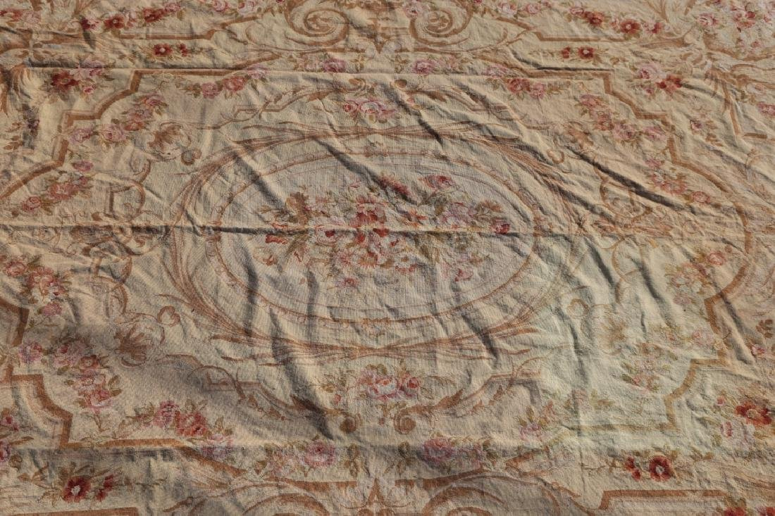 FRENCH VINTAGE AUBUSSON NEEDLEPOINT ROOM SIZE RUG - 2