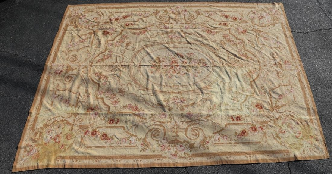 FRENCH VINTAGE AUBUSSON NEEDLEPOINT ROOM SIZE RUG - 3