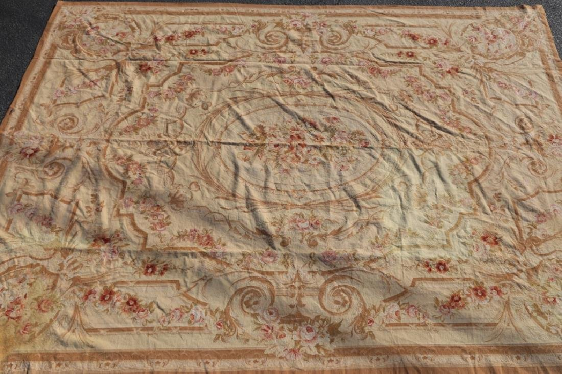 FRENCH VINTAGE AUBUSSON NEEDLEPOINT ROOM SIZE RUG - 4