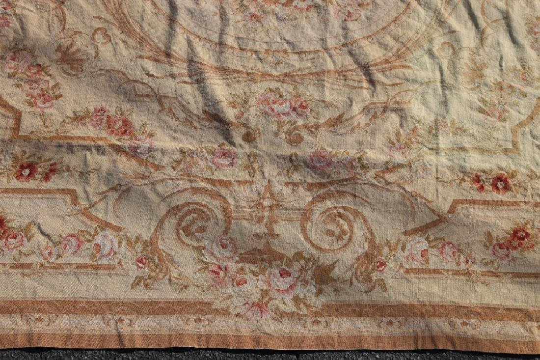 FRENCH VINTAGE AUBUSSON NEEDLEPOINT ROOM SIZE RUG - 6