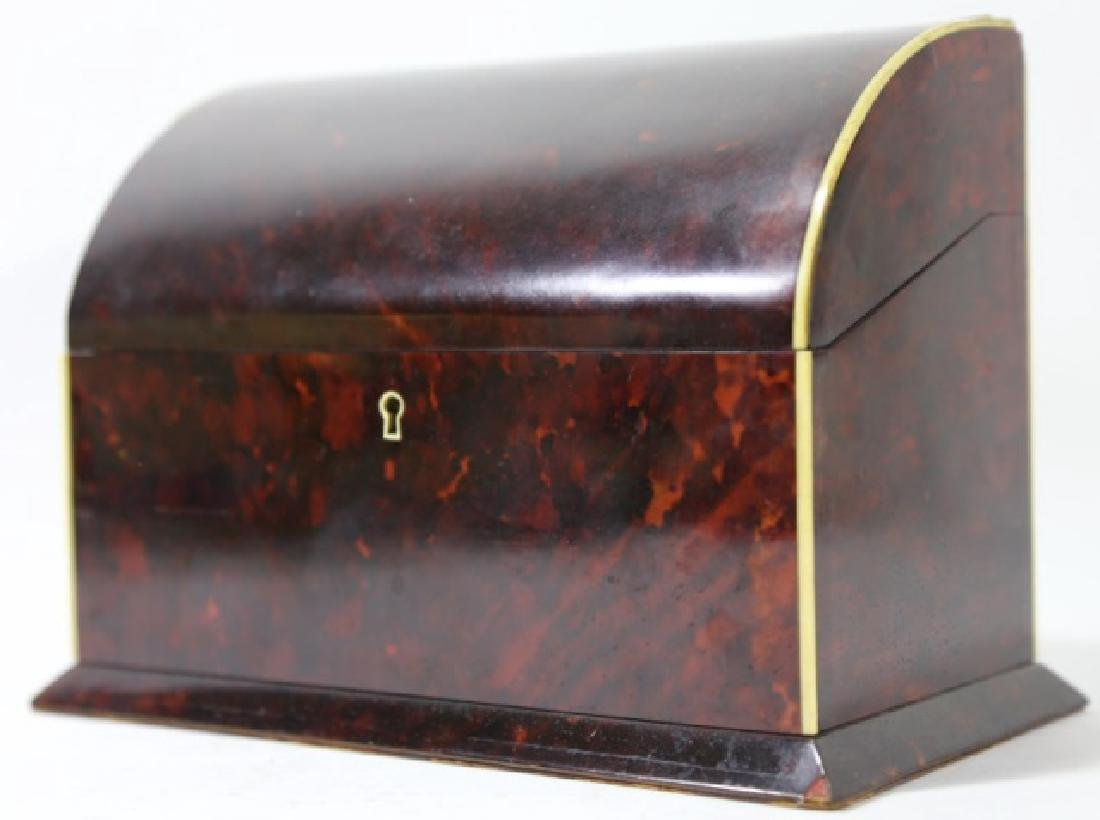 ENGLISH ANTIQUE TORTOISE SHELL DOCUMENT BOX - 9