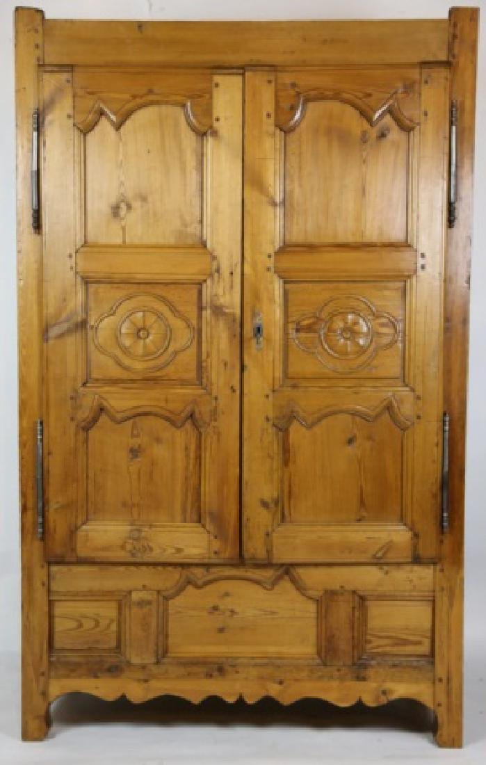FRENCH FINE PRIMITIVE ANTIQUE PINE ARMOIRE