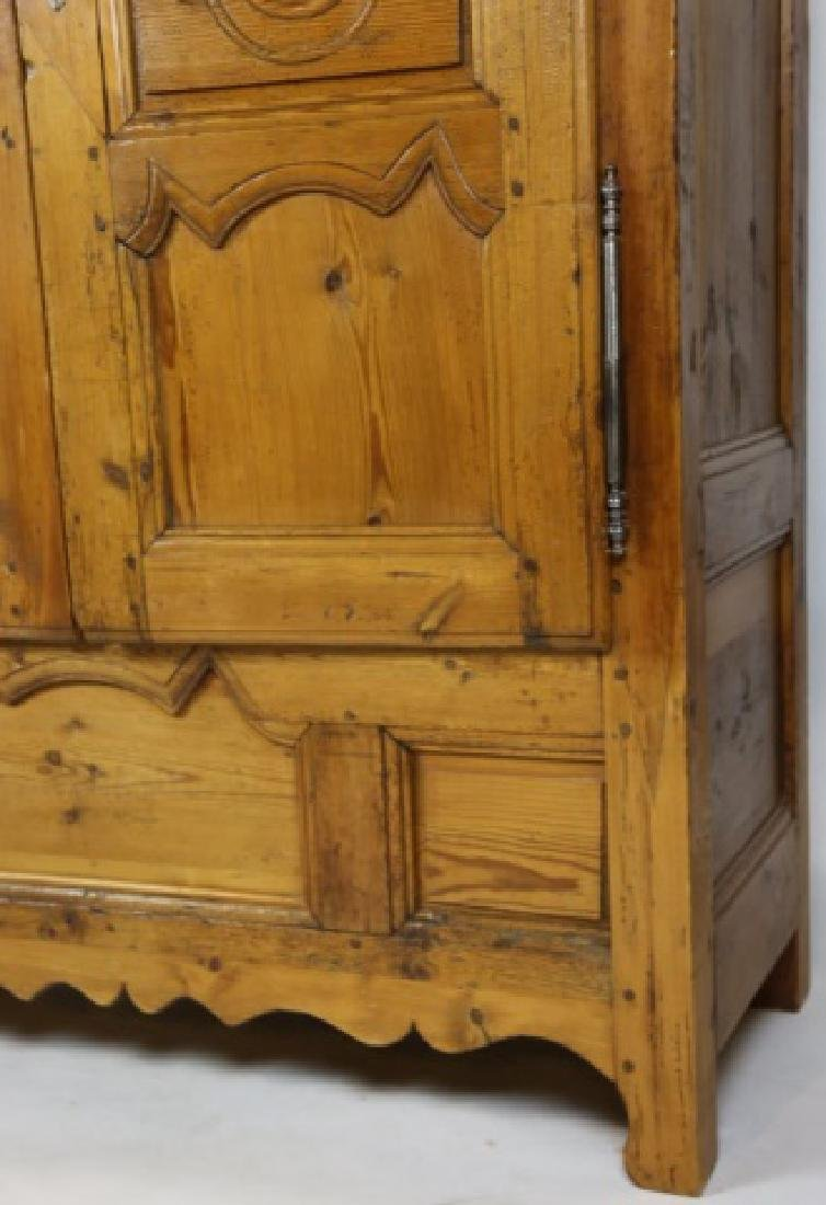 FRENCH FINE PRIMITIVE ANTIQUE PINE ARMOIRE - 2