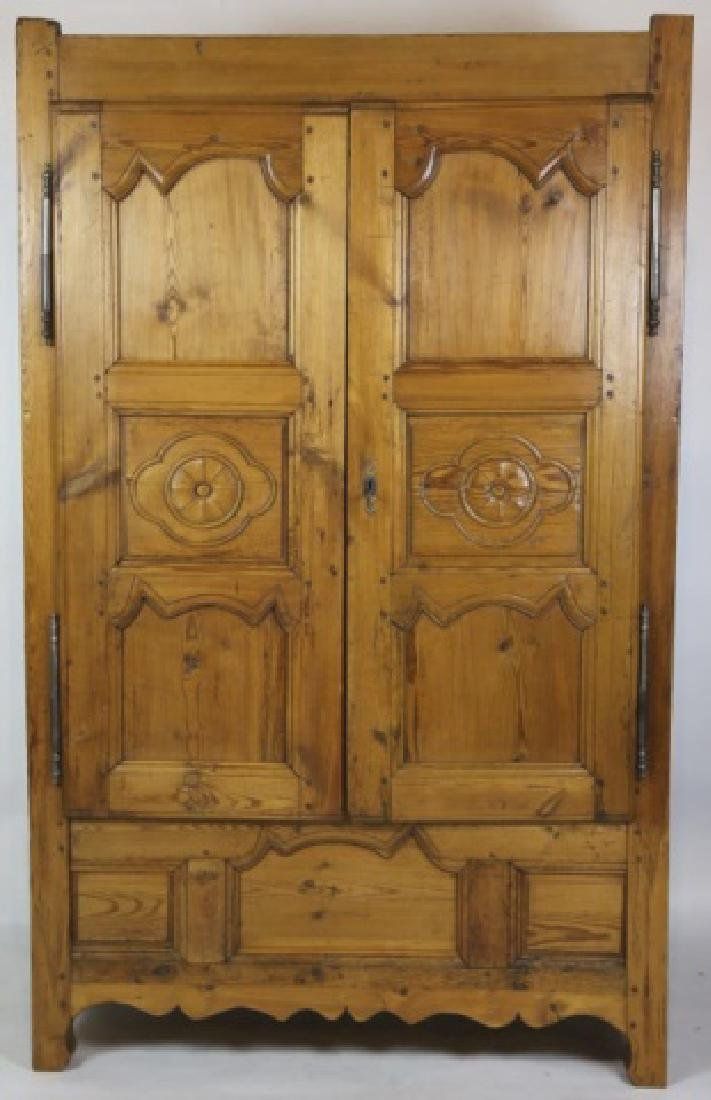 FRENCH FINE PRIMITIVE ANTIQUE PINE ARMOIRE - 8
