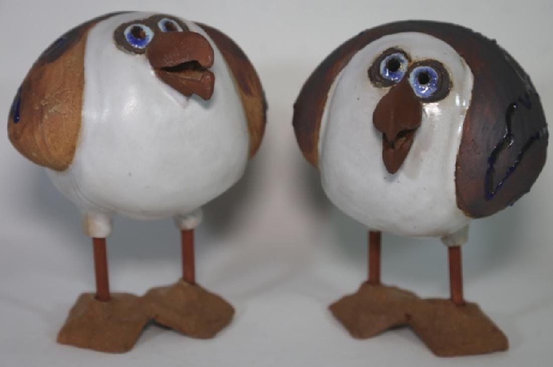 ART BY SUE FINE  POTTERY BIRDS