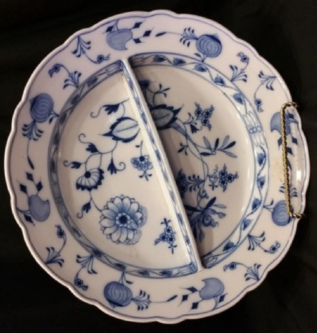 MEISSEN BLUE & WHITE ONION PORCELIAN SERVING BOWL