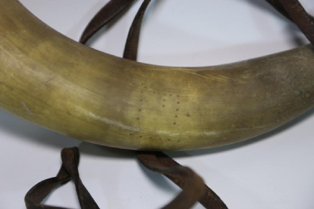 ANTIQUE HORN WITH ORIGINAL LEATHER STRAP - 4