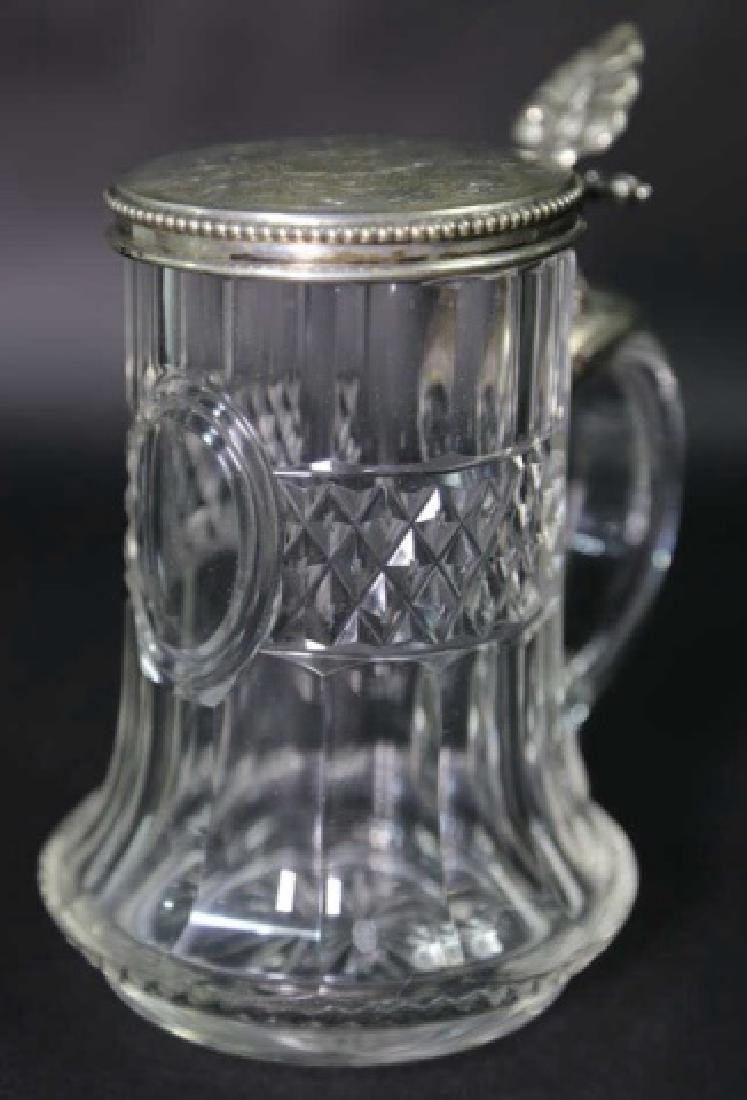 STERLING SILVER & CUT CRYSTAL STEIN, ENGRAVED