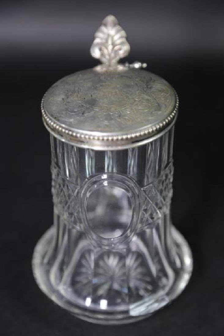 STERLING SILVER & CUT CRYSTAL STEIN, ENGRAVED - 3