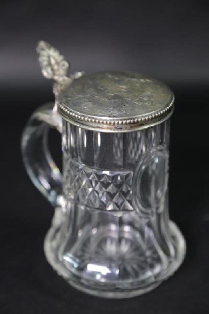 STERLING SILVER & CUT CRYSTAL STEIN, ENGRAVED - 4