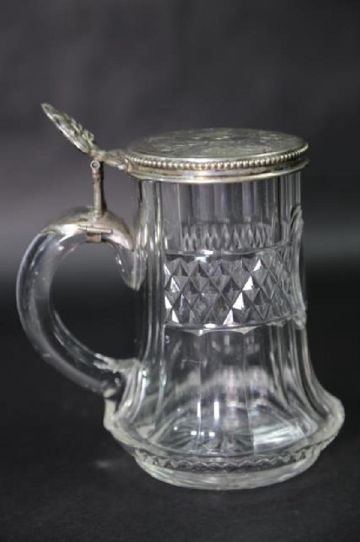 STERLING SILVER & CUT CRYSTAL STEIN, ENGRAVED - 5