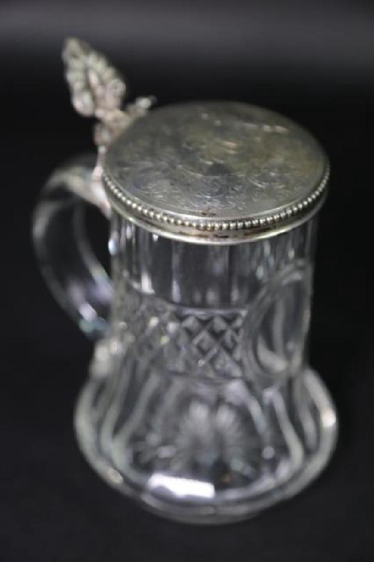 STERLING SILVER & CUT CRYSTAL STEIN, ENGRAVED - 6