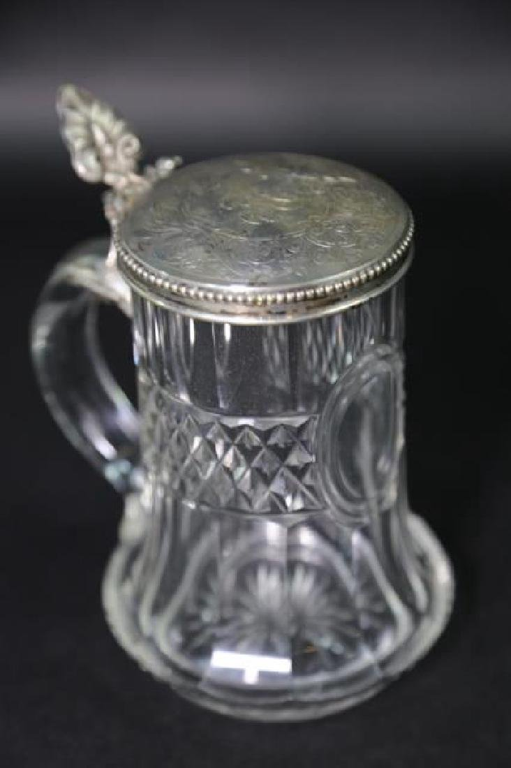 STERLING SILVER & CUT CRYSTAL STEIN, ENGRAVED - 7