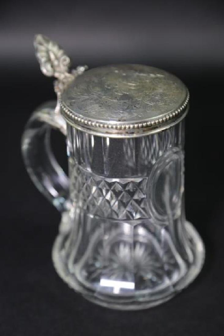 STERLING SILVER & CUT CRYSTAL STEIN, ENGRAVED - 8