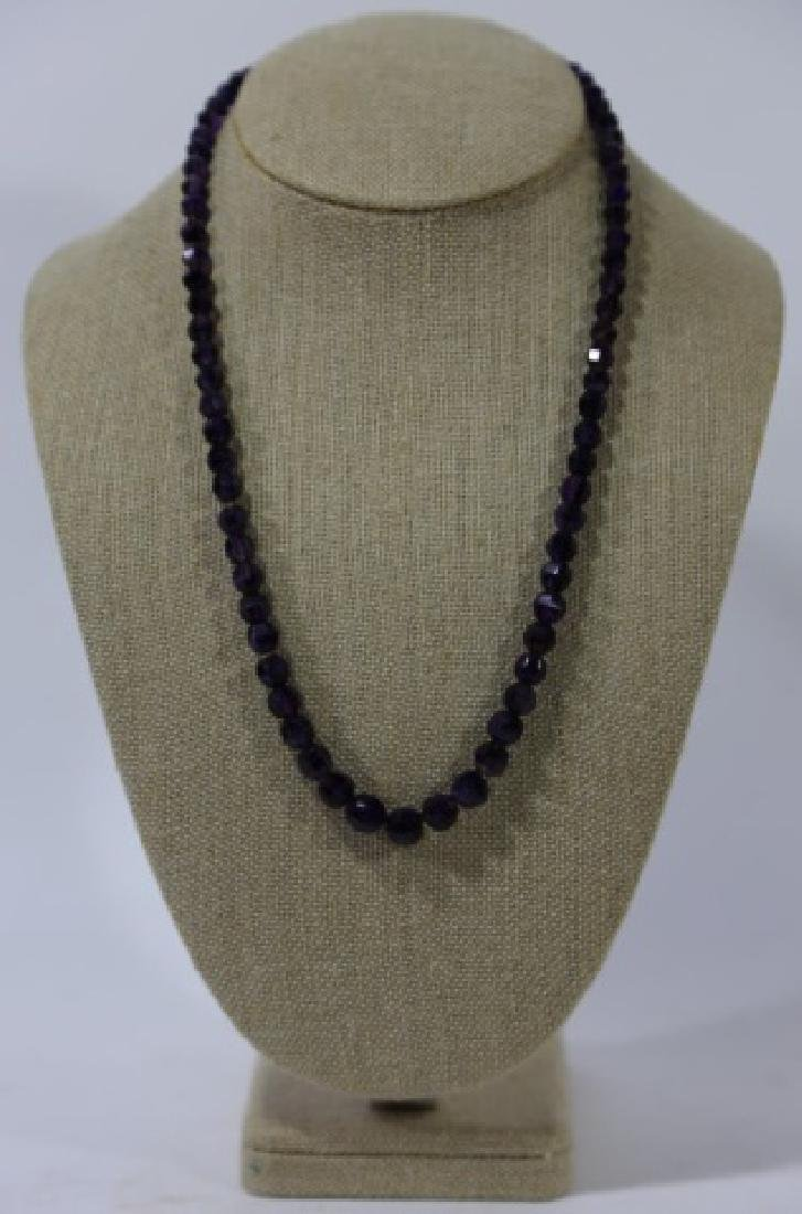 VINTAGE AMETHYST BEADED NECKLACE - 2