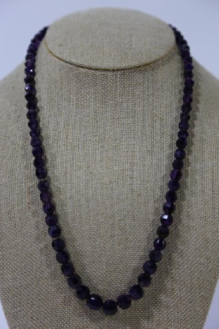 VINTAGE AMETHYST BEADED NECKLACE - 3