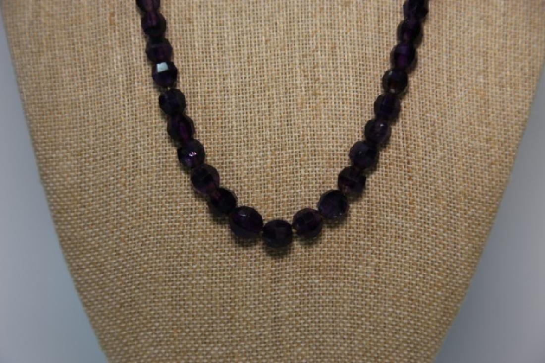 VINTAGE AMETHYST BEADED NECKLACE - 4