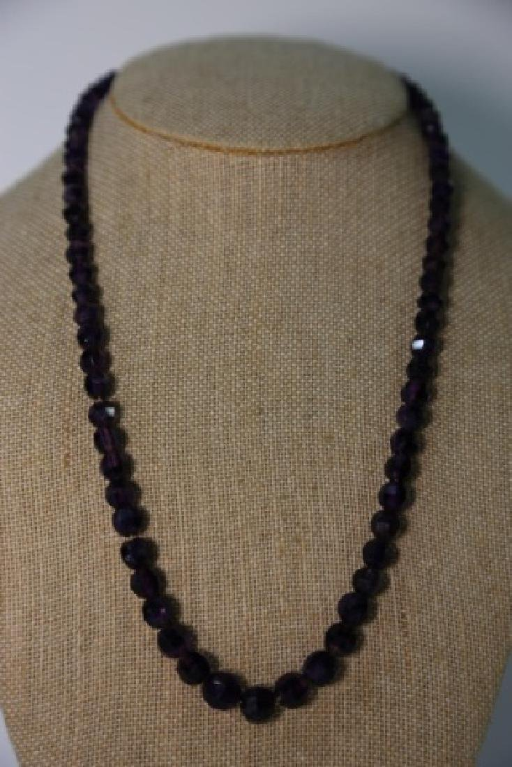 VINTAGE AMETHYST BEADED NECKLACE - 5