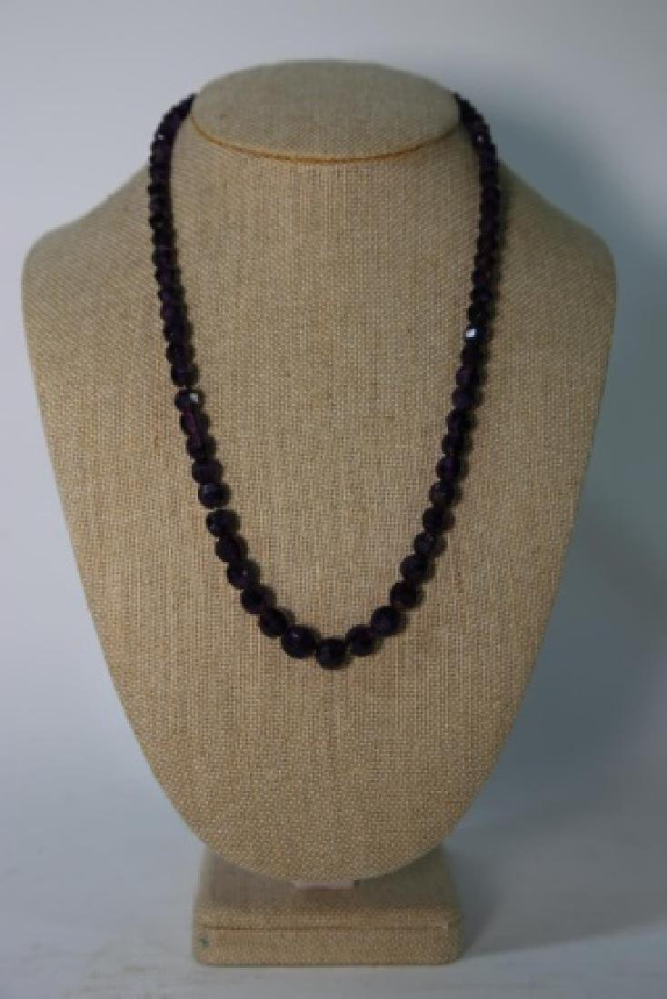 VINTAGE AMETHYST BEADED NECKLACE - 6