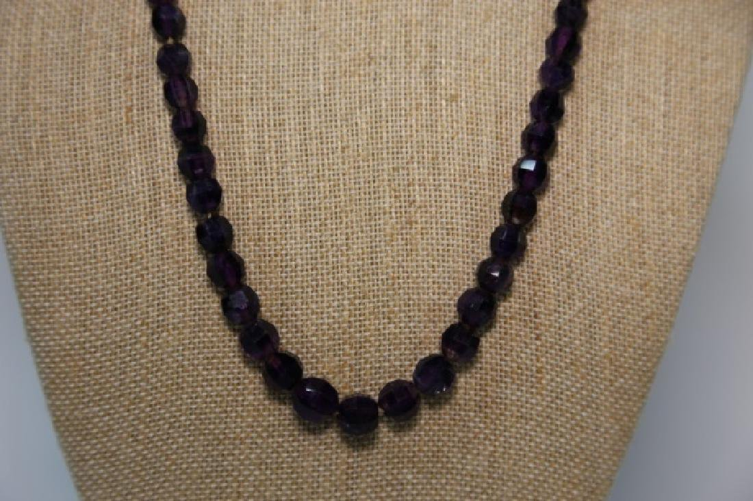VINTAGE AMETHYST BEADED NECKLACE - 7