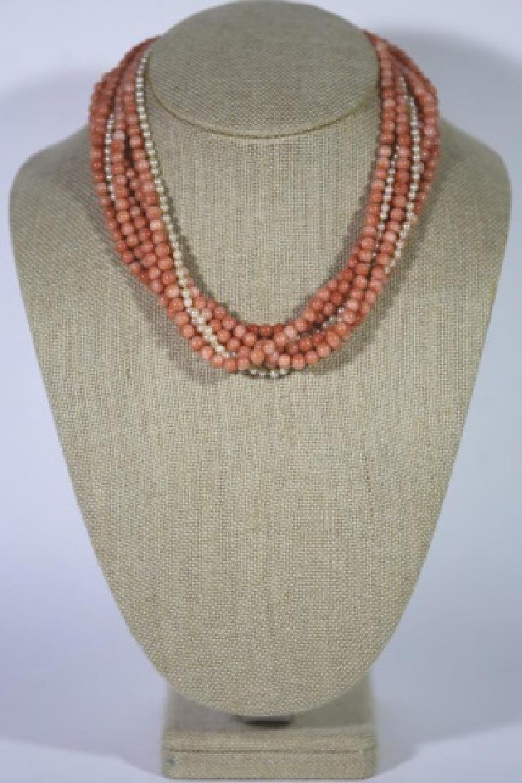 14KYG CORAL & SEA PEARL VINTAGE CHOKER NECKLACE