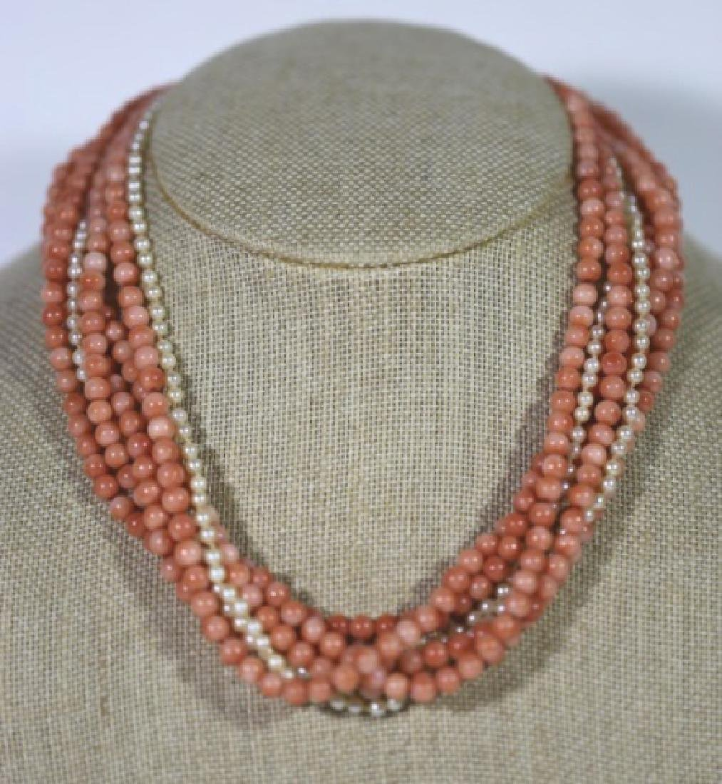 14KYG CORAL & SEA PEARL VINTAGE CHOKER NECKLACE - 2