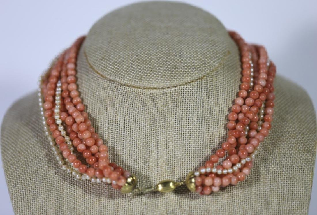 14KYG CORAL & SEA PEARL VINTAGE CHOKER NECKLACE - 3