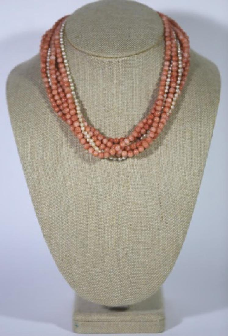 14KYG CORAL & SEA PEARL VINTAGE CHOKER NECKLACE - 6