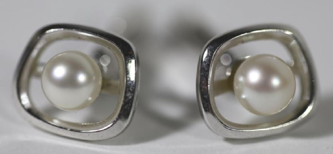 STERLING SILVER & PEARL MENS CUFF LINKS