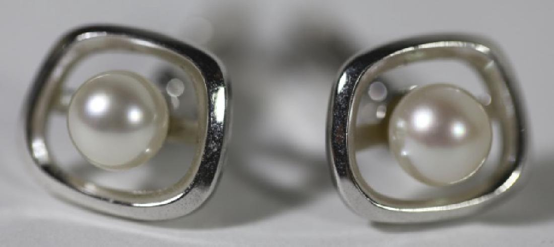 STERLING SILVER & PEARL MENS CUFF LINKS - 2