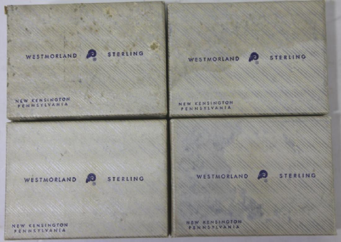WESTMORLAND SALT CELLARS & STERLING SPOONS - 2
