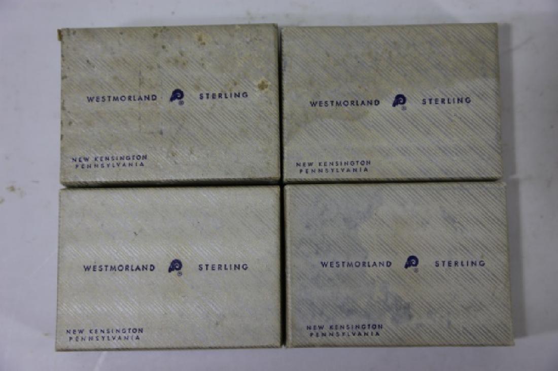 WESTMORLAND SALT CELLARS & STERLING SPOONS - 3