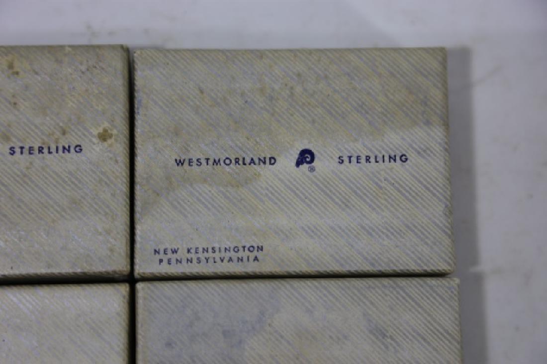 WESTMORLAND SALT CELLARS & STERLING SPOONS - 4