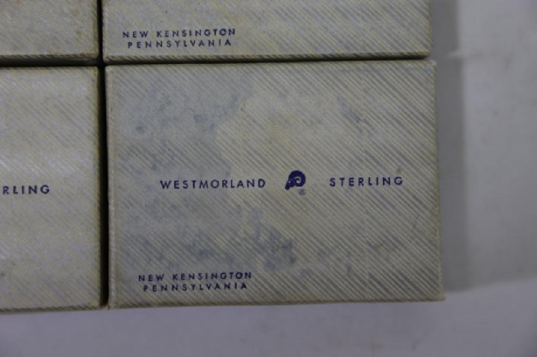 WESTMORLAND SALT CELLARS & STERLING SPOONS - 5