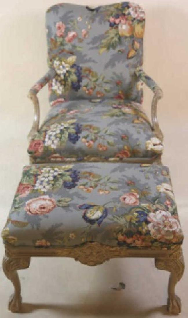 FRENCH CUSTOM UPHOLSTERED CHAIR & OTTOMAN