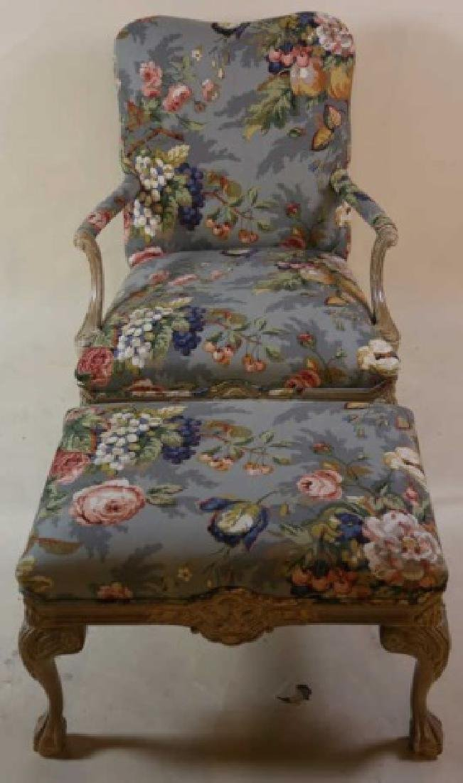 FRENCH CUSTOM UPHOLSTERED CHAIR & OTTOMAN - 2