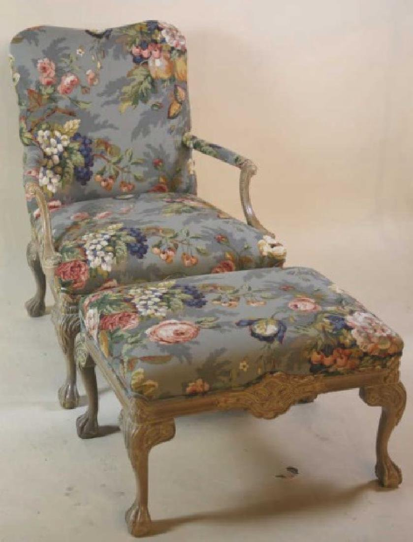 FRENCH CUSTOM UPHOLSTERED CHAIR & OTTOMAN - 4