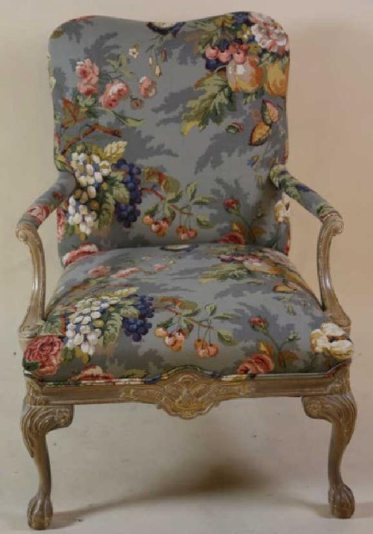 FRENCH CUSTOM UPHOLSTERED CHAIR & OTTOMAN - 7