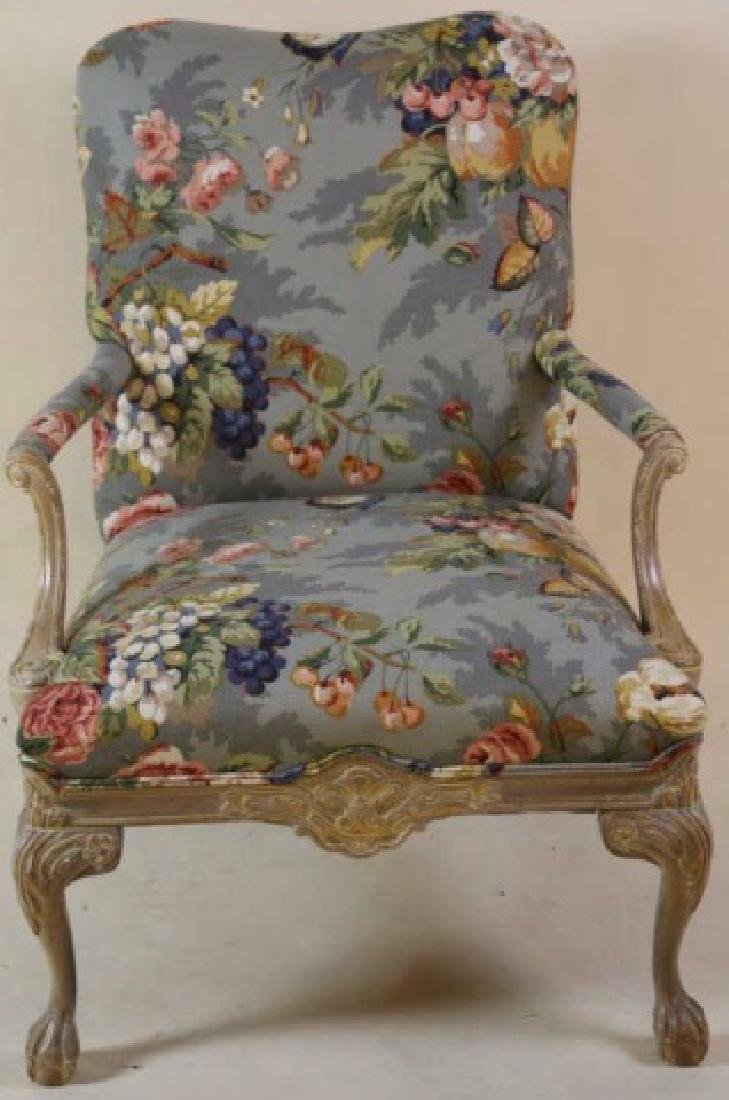 FRENCH CUSTOM UPHOLSTERED CHAIR & OTTOMAN - 8