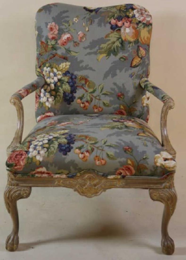 FRENCH CUSTOM UPHOLSTERED CHAIR & OTTOMAN - 9