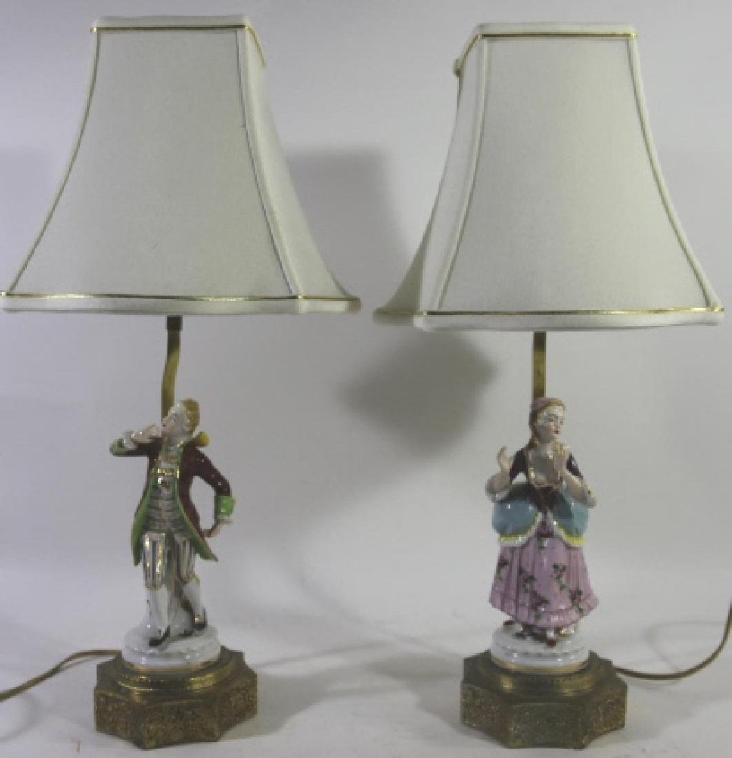 GERMAN PORCELAIN VINTAGE FIGURAL HAND PAINTED LAMP