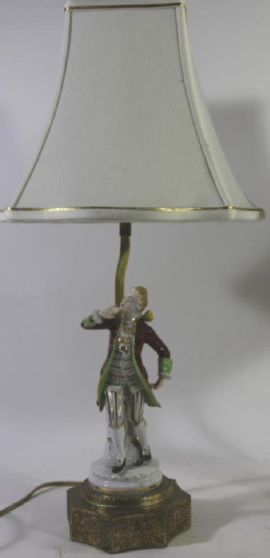 GERMAN PORCELAIN VINTAGE FIGURAL HAND PAINTED LAMP - 3