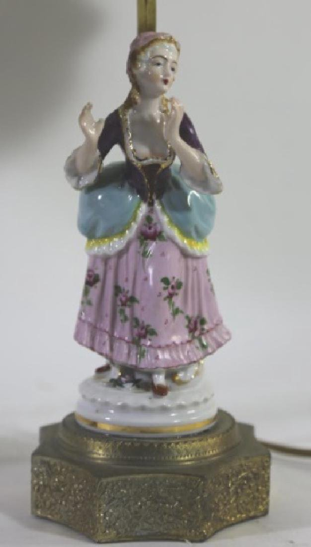 GERMAN PORCELAIN VINTAGE FIGURAL HAND PAINTED LAMP - 5