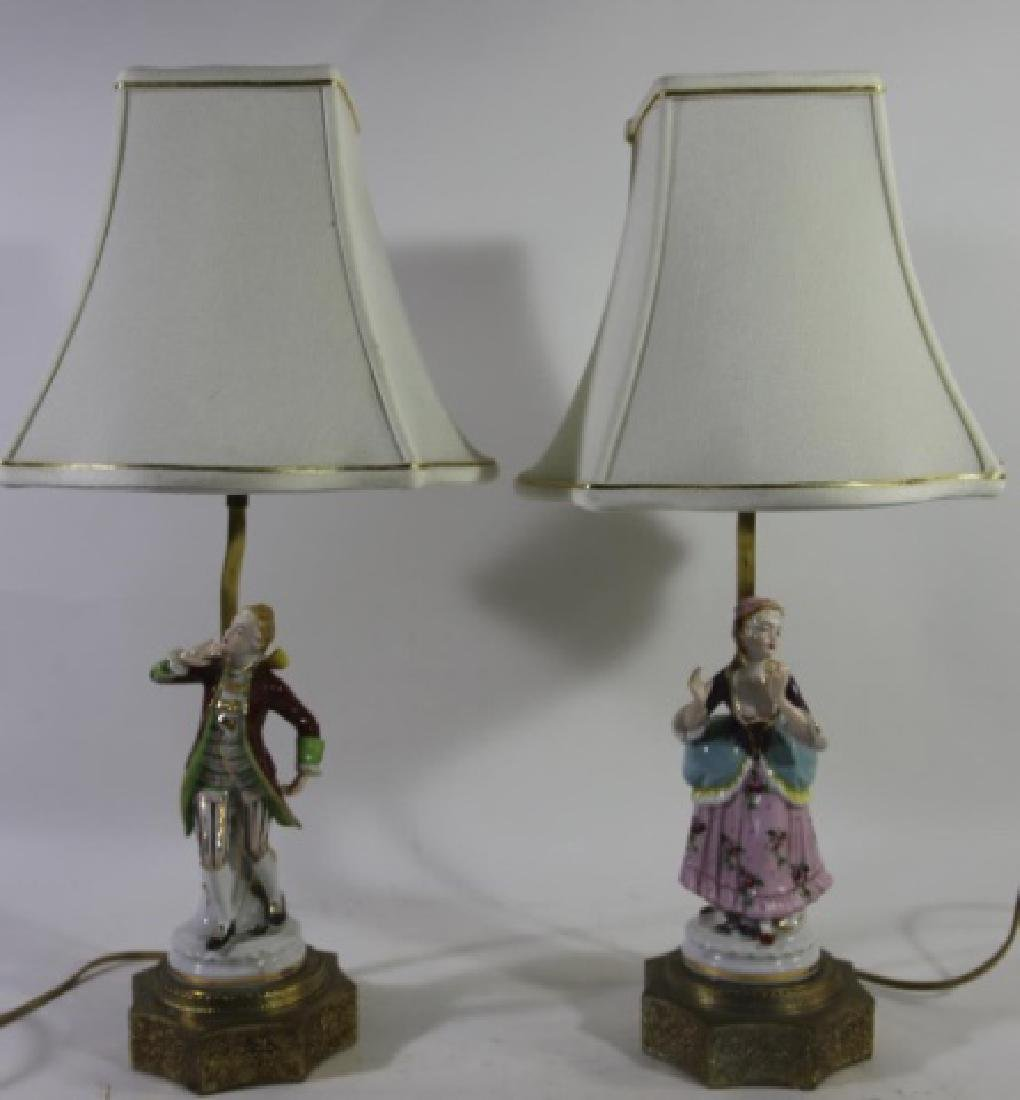 GERMAN PORCELAIN VINTAGE FIGURAL HAND PAINTED LAMP - 6