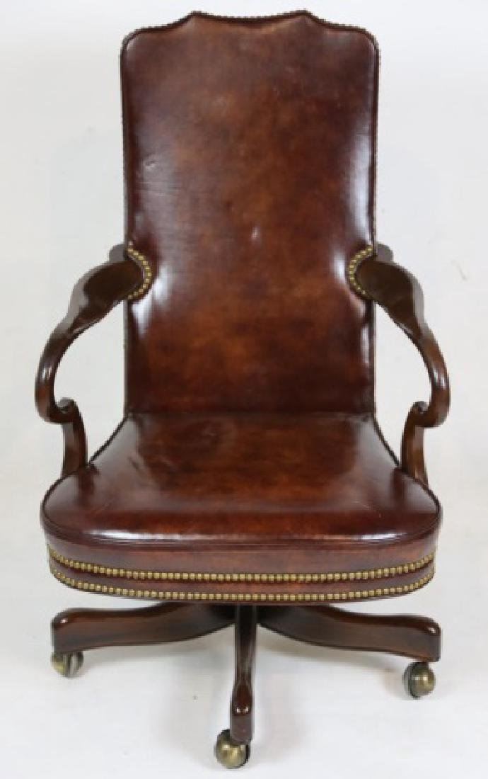 HICKORY FURNITURE NAILHEAD TRIMMED LEATHER CHAIR