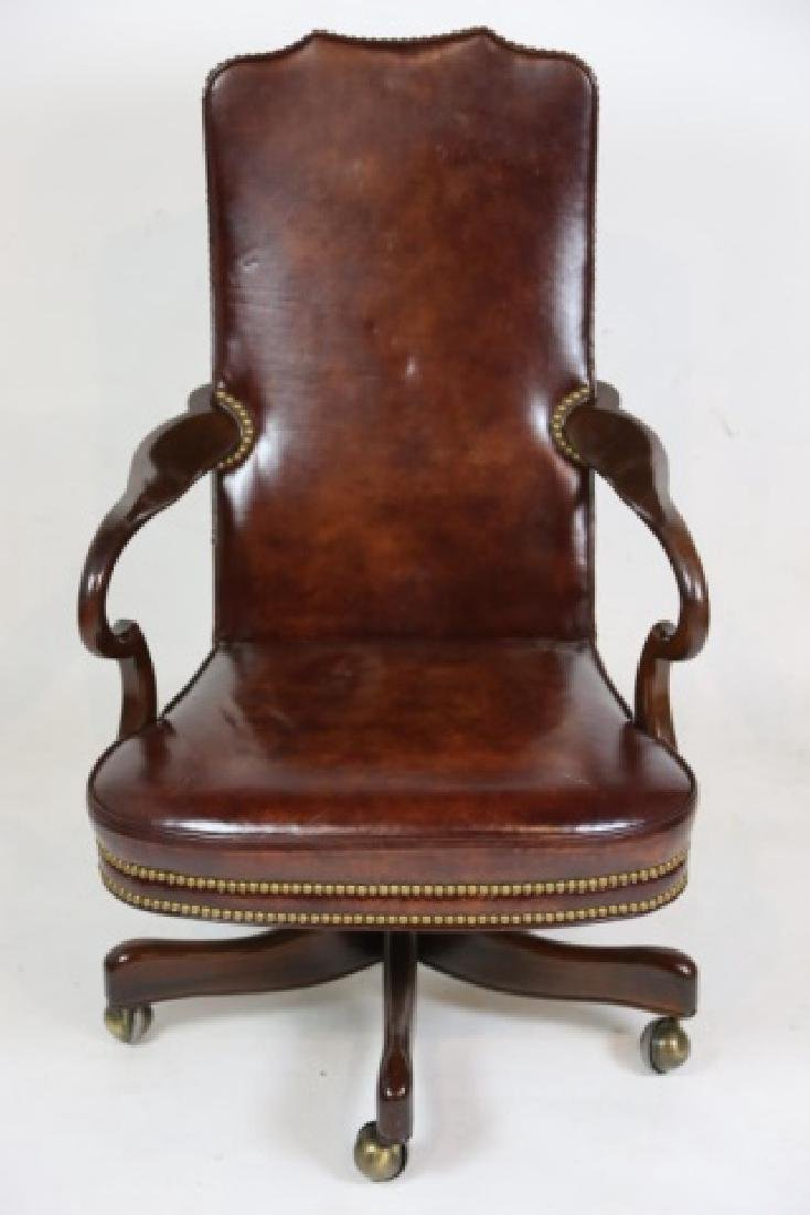 HICKORY FURNITURE NAILHEAD TRIMMED LEATHER CHAIR - 2