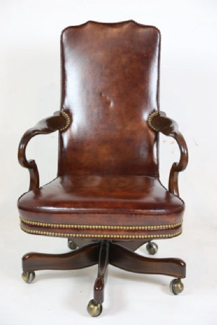 HICKORY FURNITURE NAILHEAD TRIMMED LEATHER CHAIR - 3