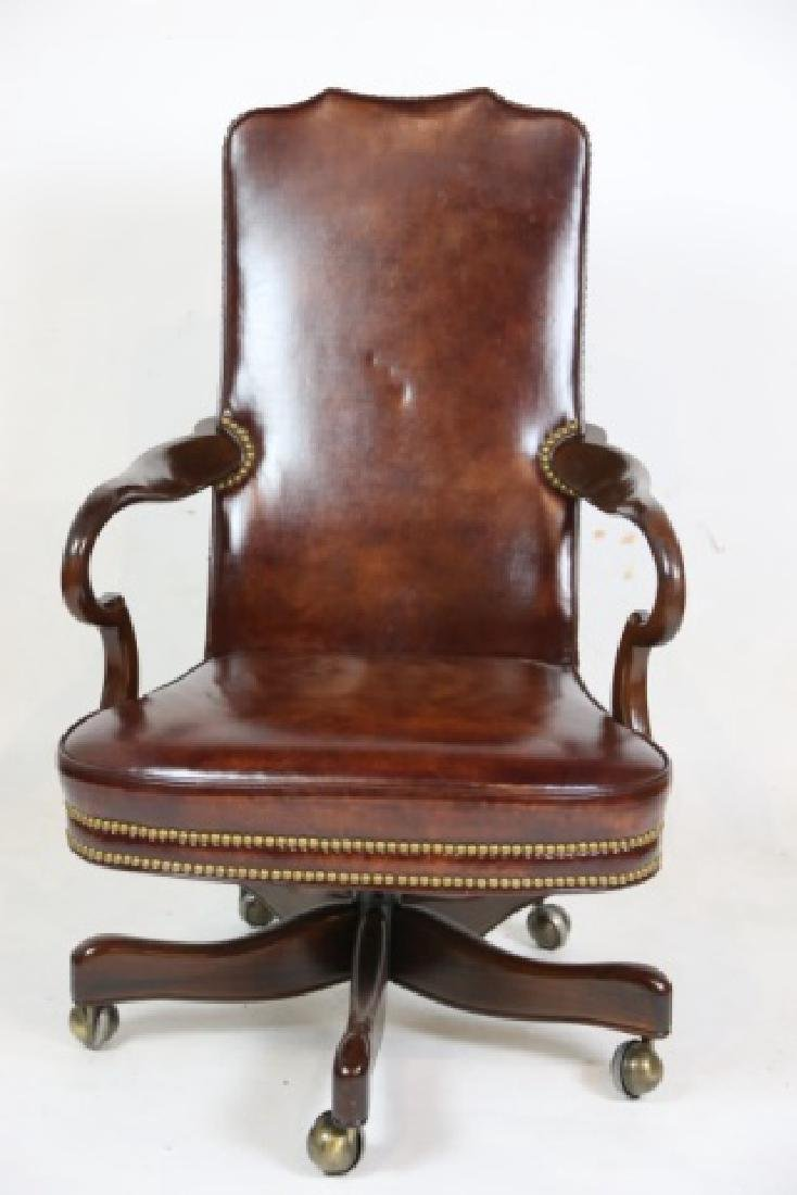 HICKORY FURNITURE NAILHEAD TRIMMED LEATHER CHAIR - 4